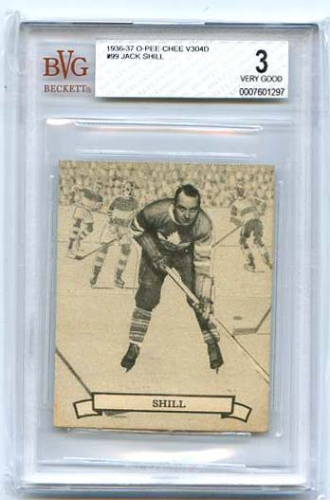 Jack Shell   1936-37 NHL   O-Pee-Chee V304D #99  Beckett graded 3 Very Good
