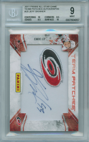 Jeff Skinner 2011 Panini All-Star Game Team Patches Autographs Beckett graded 9 Mint