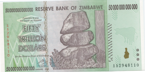 Zimbabwei  50 Trillion Dollar Bill