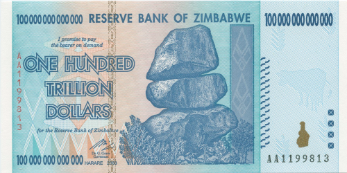 Zimbabwei 100 Trillion Dollar Bill