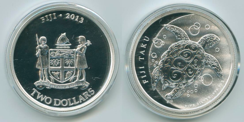 Fiji 2013 2 Dollar  .999 1 oz. Silver Coin