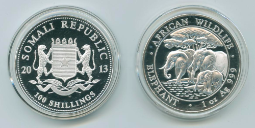Somali Republic 2013 100 Shillings .999 1 oz. Silver Coin