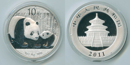 China 2011 Panda .999 oz. Silver Coin